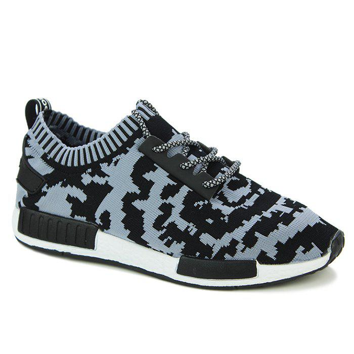 Fashionable Color Splicing and Lace-Up Design Men's Athletic Shoes - BLACK/GREY 44