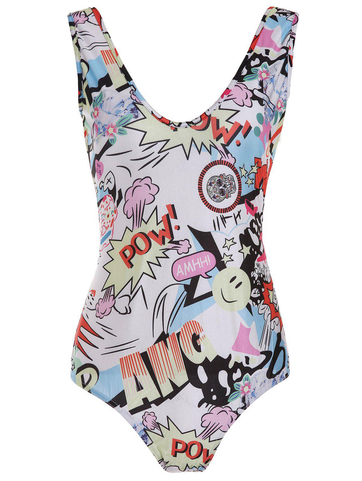 Fashionable Scoop Neck Full Print Slimming Swimsuit For Women - COLORMIX XL