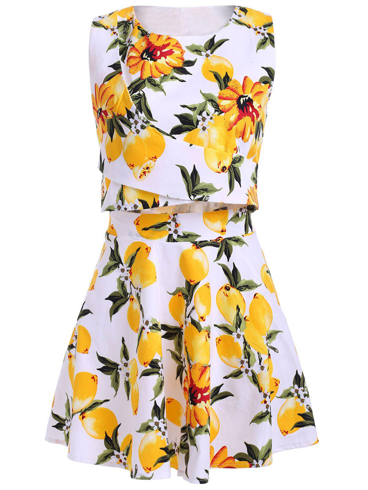 Trendy Jewel Neck Sleeveless Floral Print Two Piece Dress For Women - WHITE ONE SIZE(FIT SIZE XS TO M)
