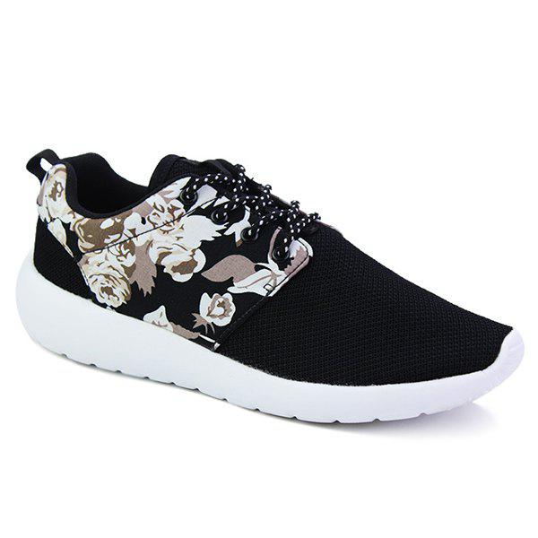 Stylish Lace-Up and Floral Print Design Men's Athletic Shoes - BLACK 41