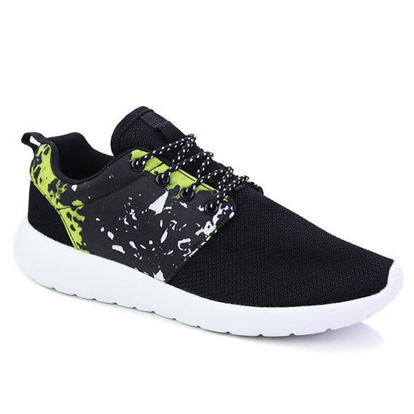 Trendy Color Block and Splicing Design Men's Athletic Shoes - BLACK/GREEN 43