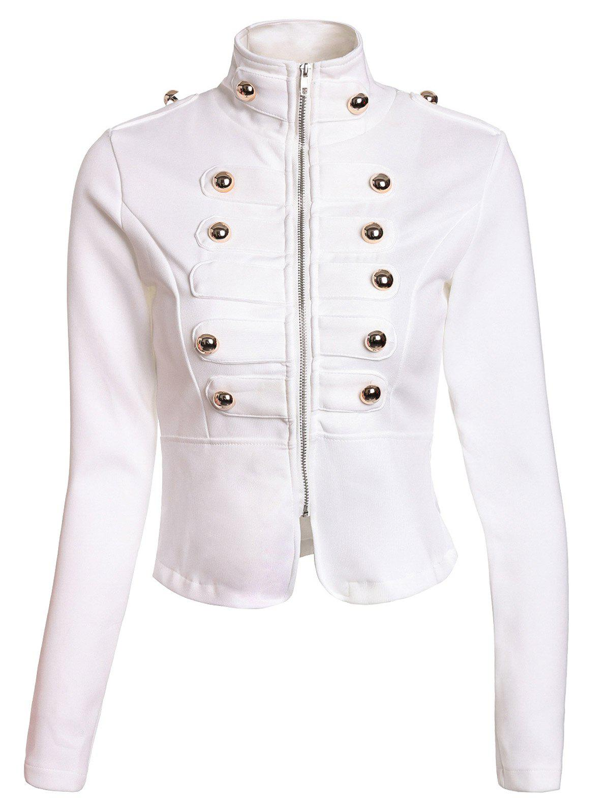 Fashionable Stand Collar Double-Breasted Zipper Long Sleeve Jacket For Women - WHITE M