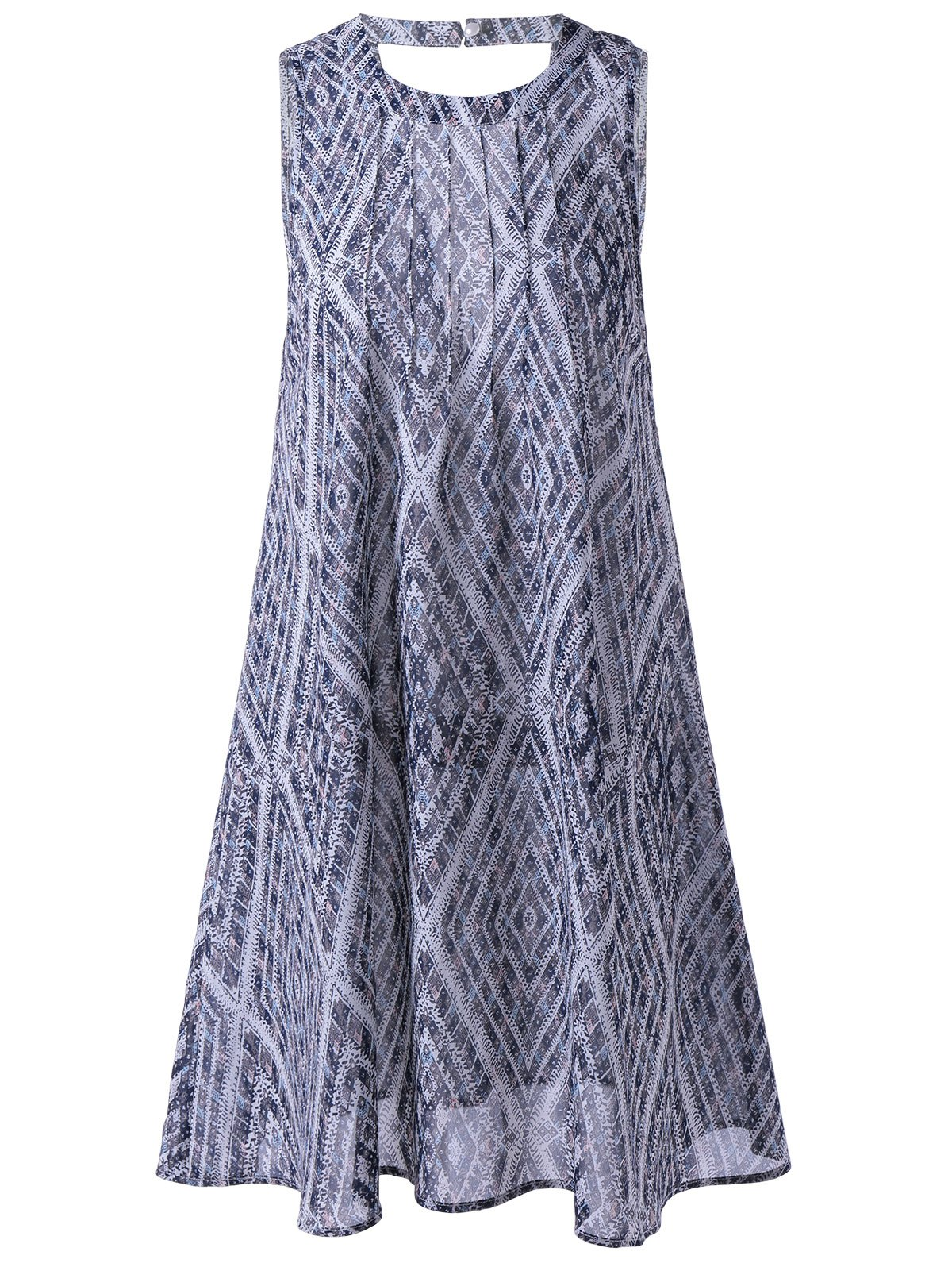 Ethnic Style Women's Loose-Fitting Round Neck Cavern Out Dress - PURPLISH BLUE L