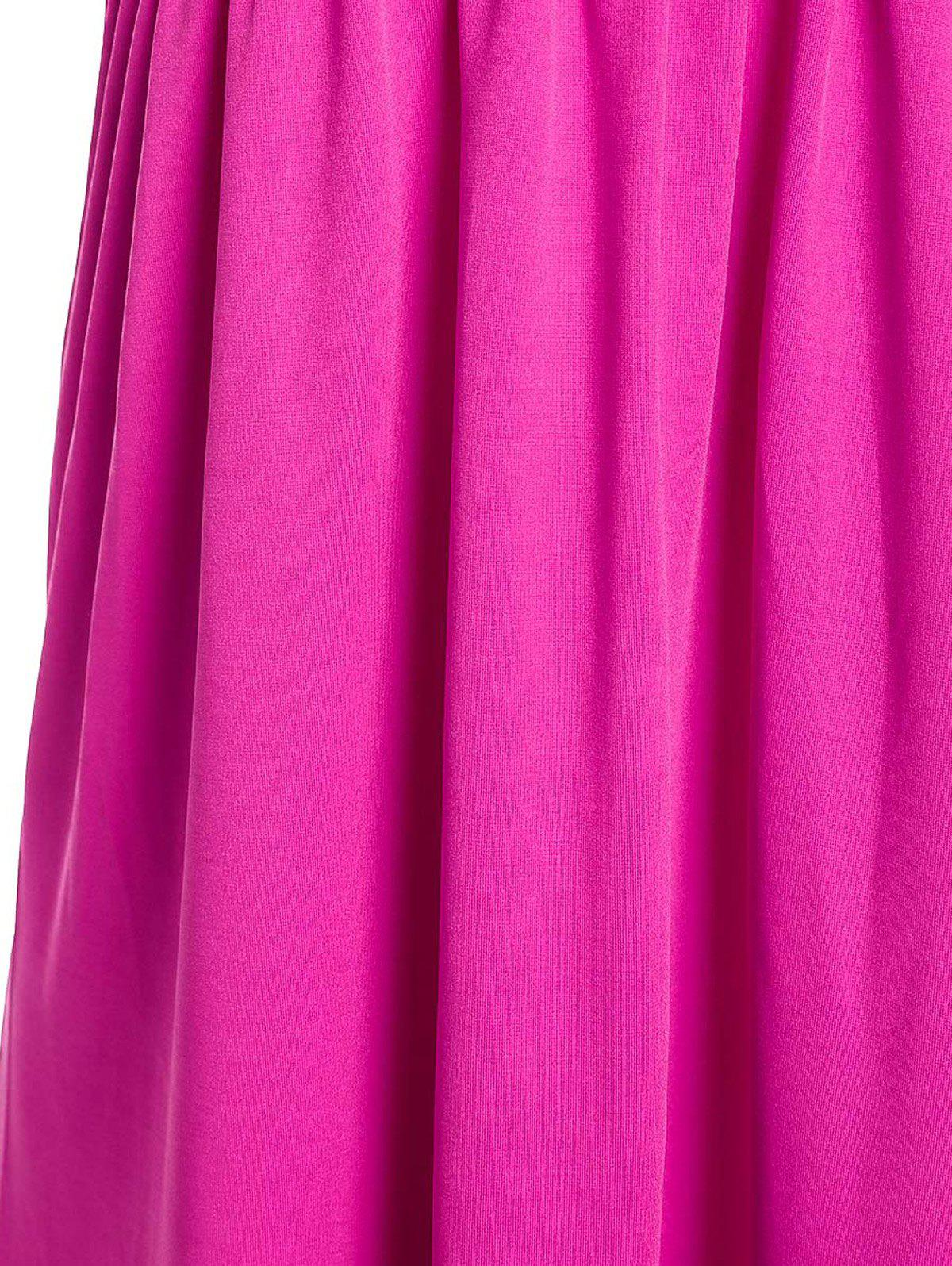 Sexy Strapless Solid Color Beachwear For Women - PLUM XL