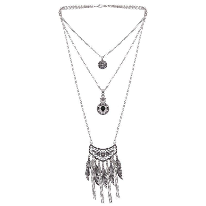 Multilayered Chain Feather Necklace - SILVER