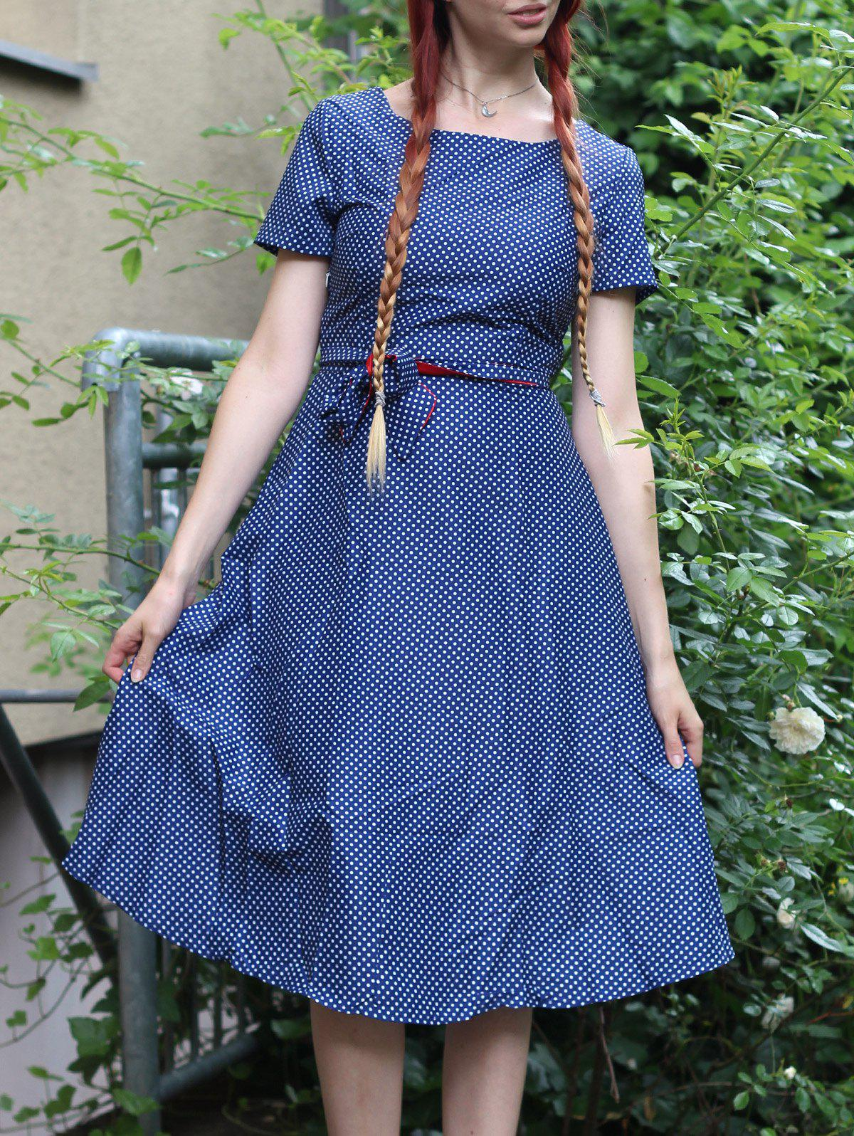Vintage Short Sleeve Polka Dot Print Belted Midi Dress For Women