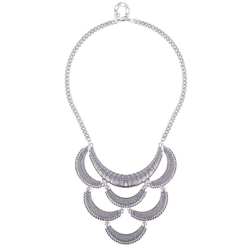 Moon Shape Necklace - SILVER