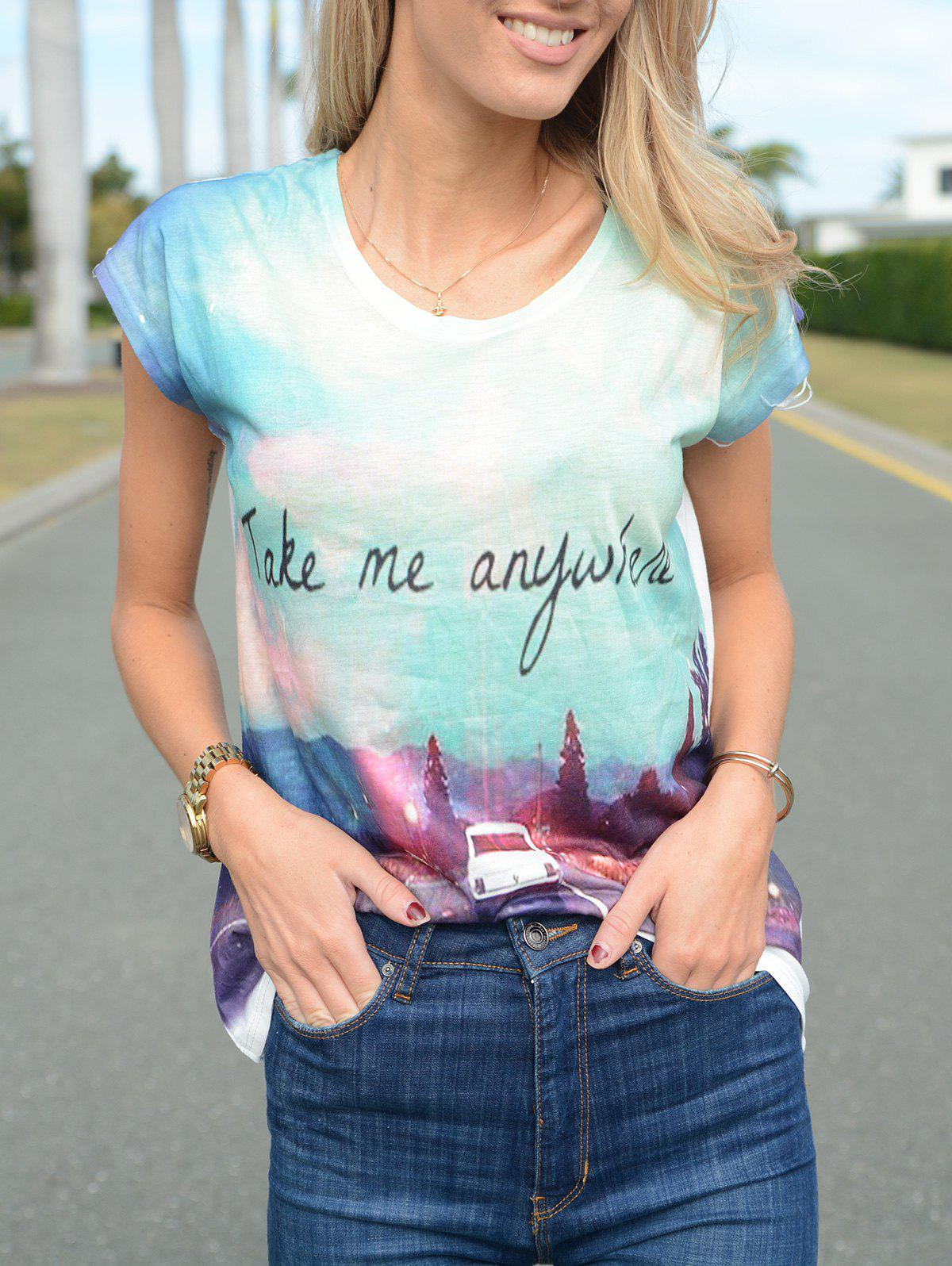 Casual 3D Print Short Sleeve Asymmetric Pullover T-Shirt For Women - COLORMIX ONE SIZE(FIT SIZE XS TO M)