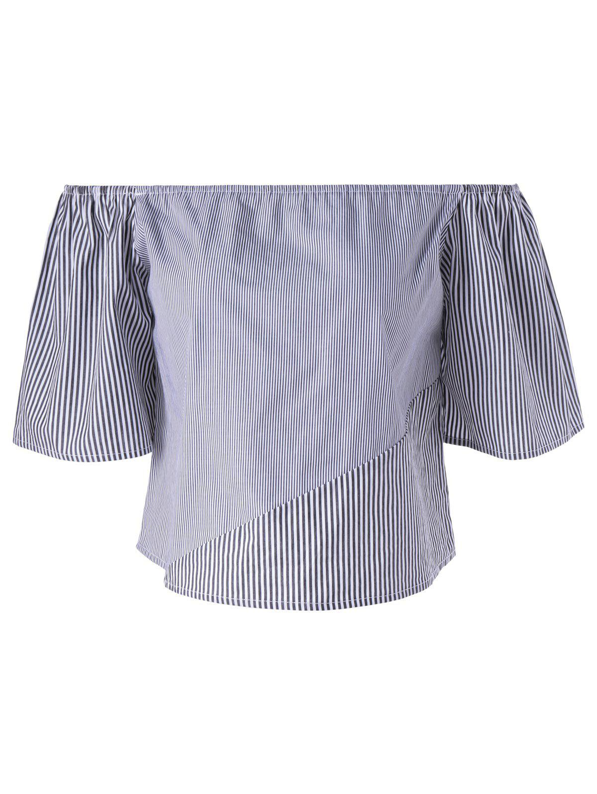 Fashionable Women's Off-The Shoulder 3/4 Sleeve Loose-Fitting Stripe Blouse - STRIPE L