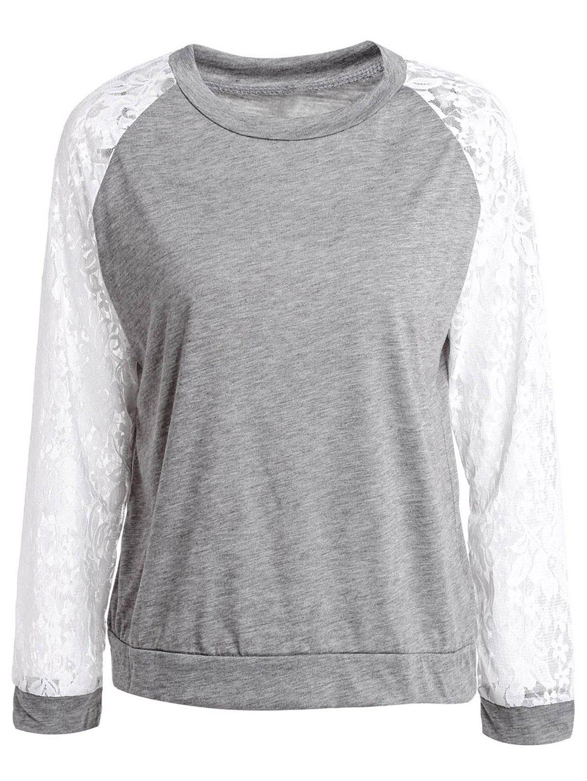 Sweet Lace Splicing Round Neck Long Sleeve Sweatshirt For Women - GRAY S