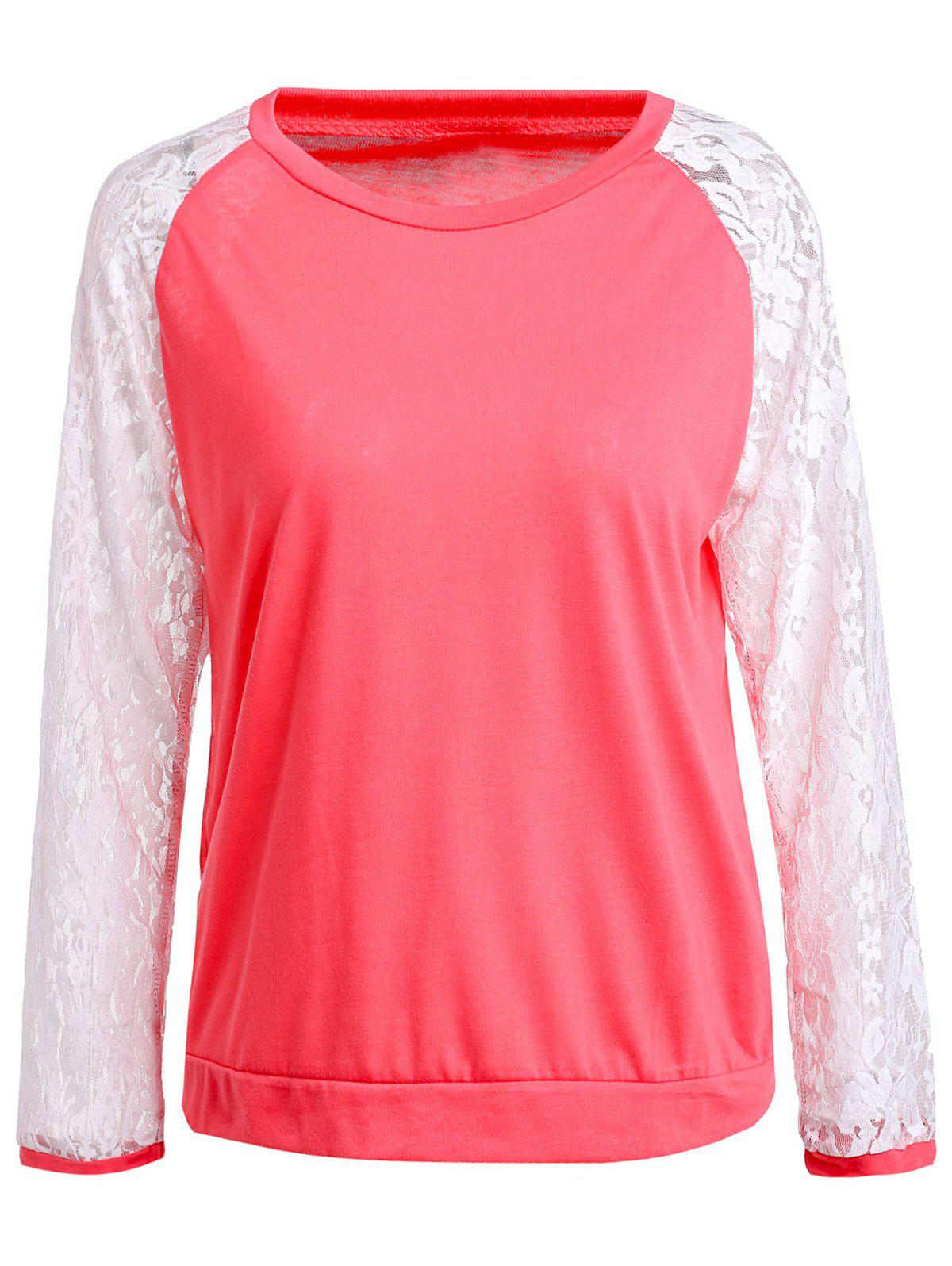 Sweet Lace Splicing Round Neck Long Sleeve Sweatshirt For Women - RED L