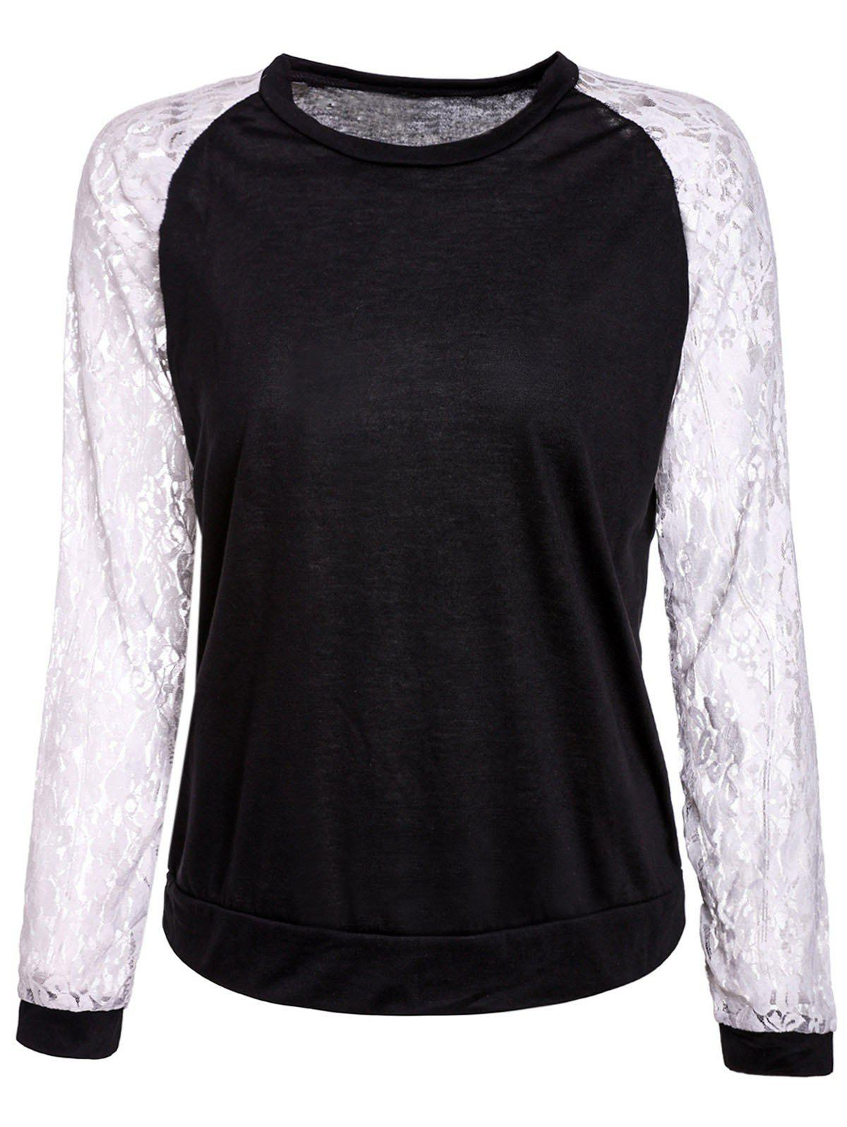 Sweet Lace Splicing Round Neck Long Sleeve Sweatshirt For Women - BLACK M