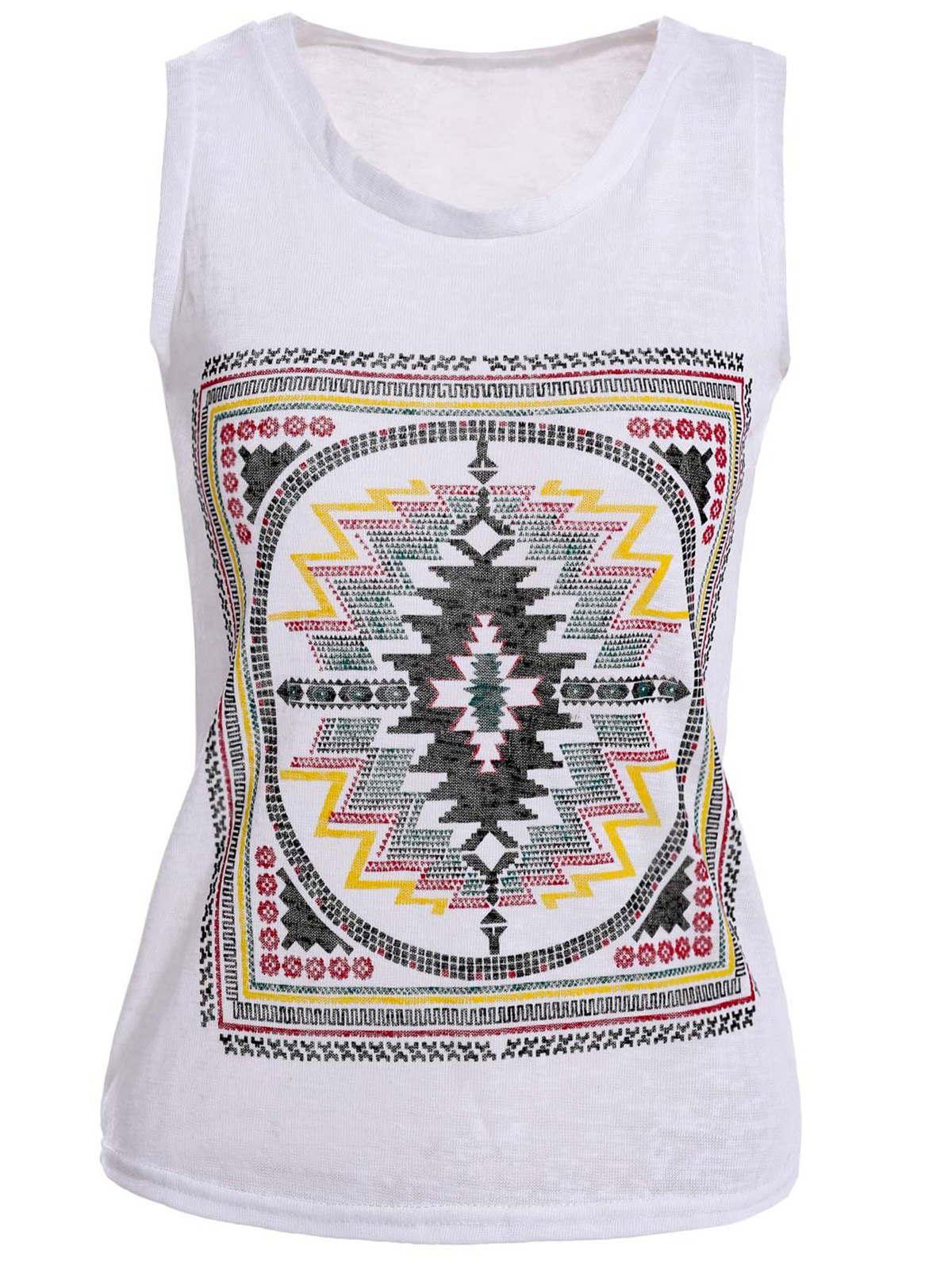 Embroidery Design Sleeveless Scoop Neck Loose Tank Top - WHITE ONE SIZE
