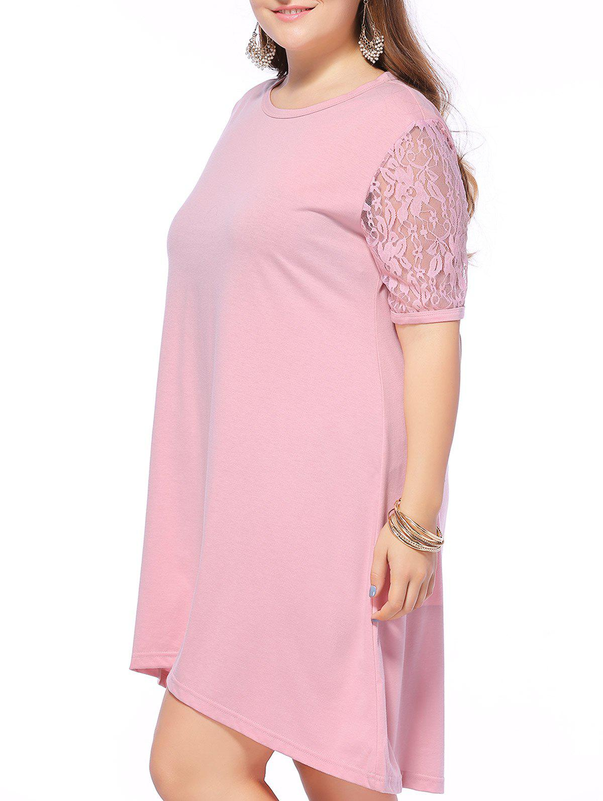 Alluring Plus Size Lace Spliced High Low Dress - PINK 6XL
