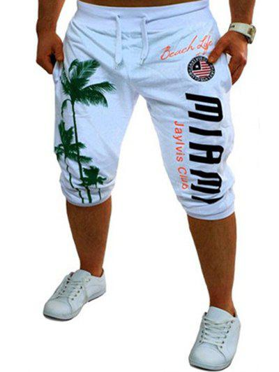 Casual Men's Lace Up Tree Printed Jogger Pants - WHITE 2XL