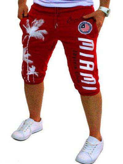 Casual Men's Lace Up Tree Printed Jogger Pants - RED M