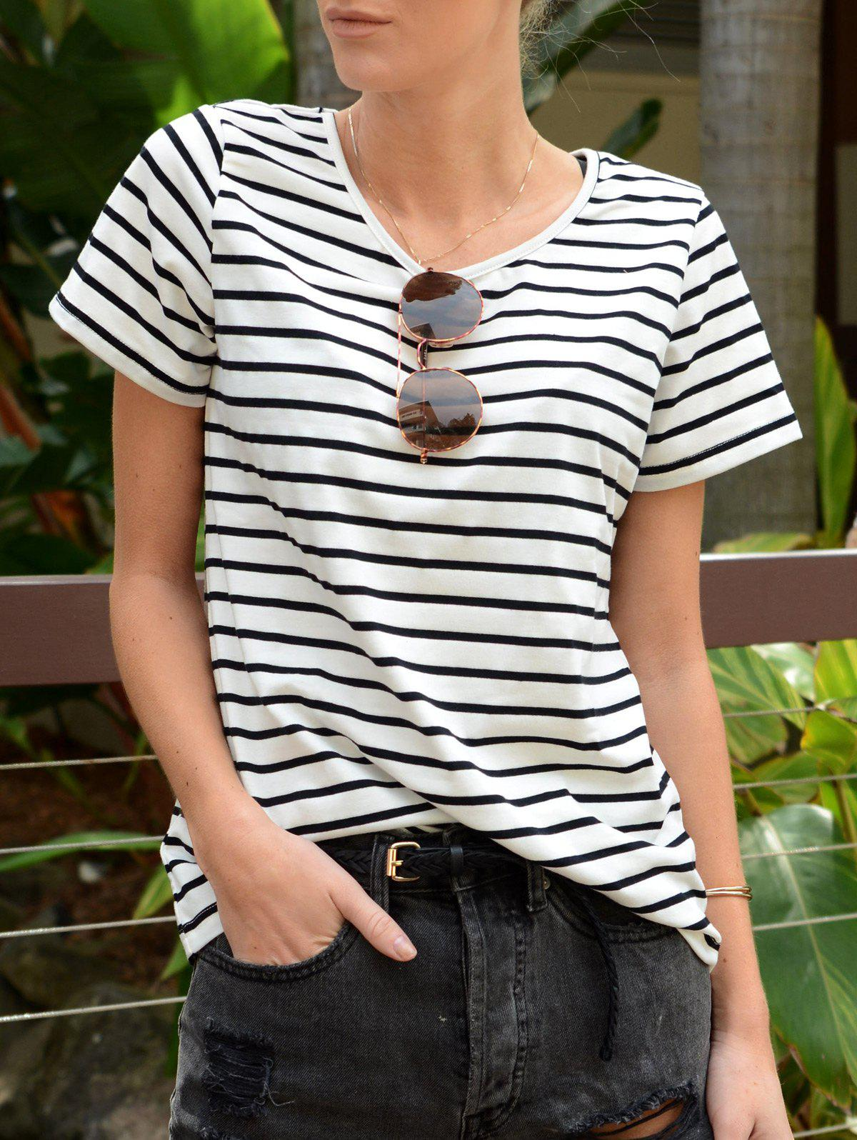 Casual Cuffed Sleeve Pullover Striped T-Shirt For Women