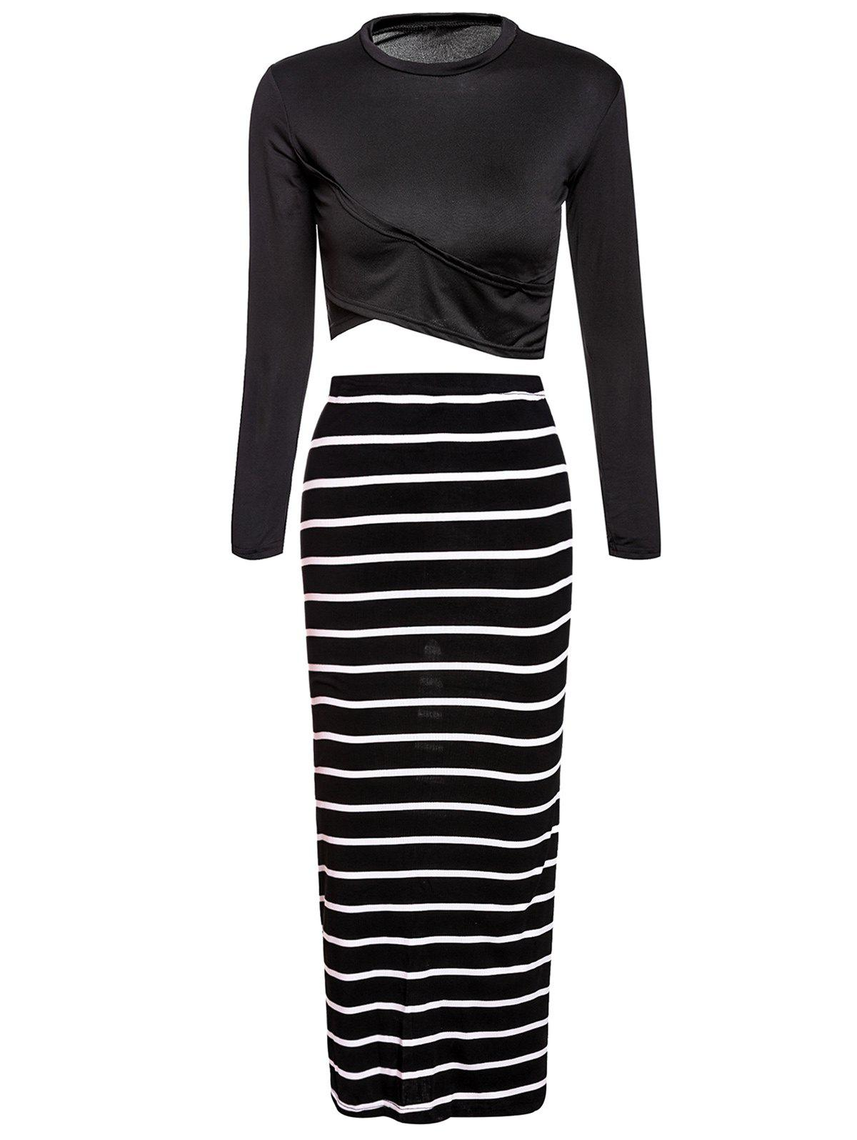 Turtle Neck Long Sleeve Crop Top + Striped Bodycon Skirt Women's Twinset - BLACK L