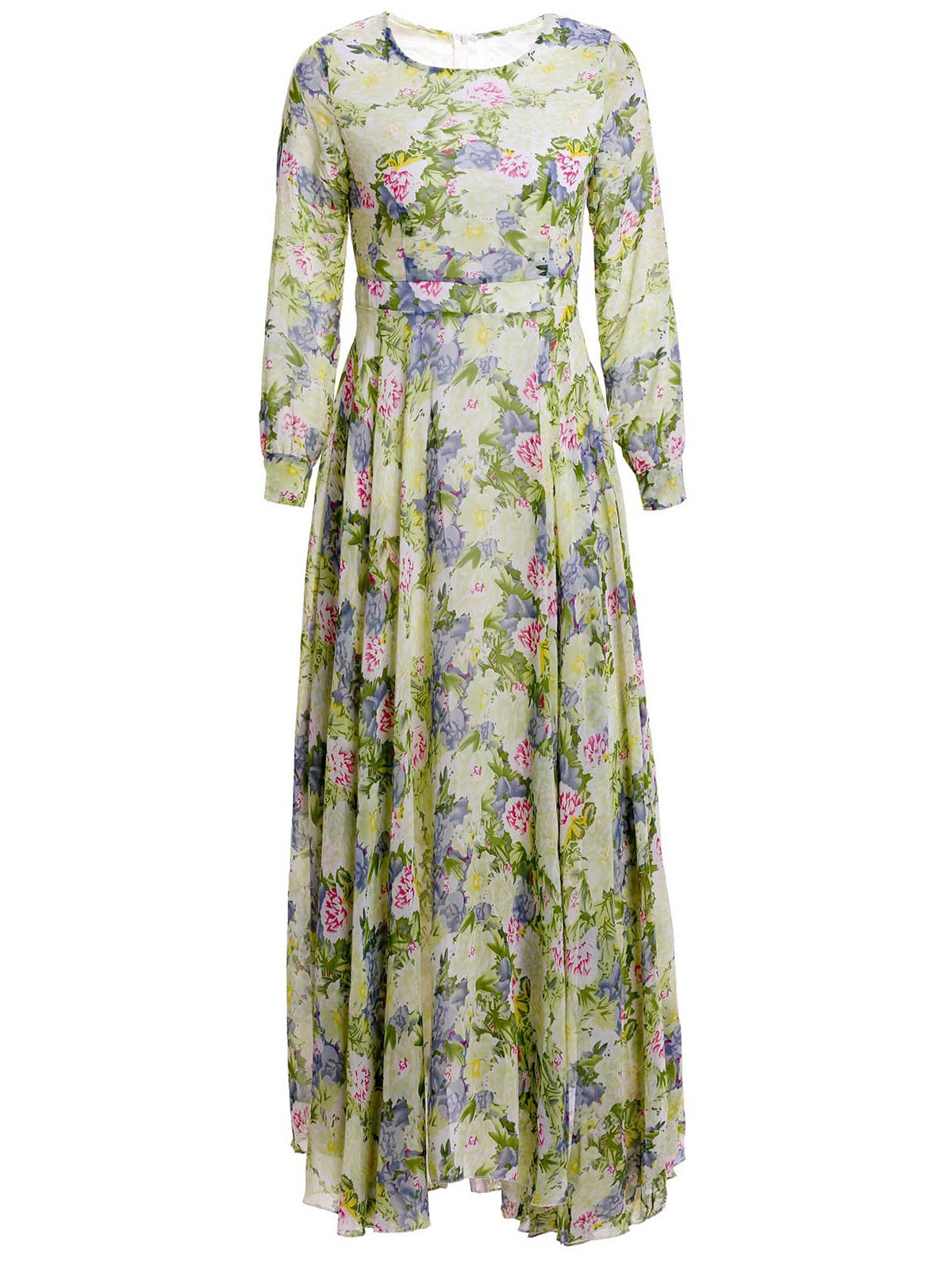 Irregular Hem Floral Print Long Sleeve Round Collar Nipped Waist Dress - GREEN L