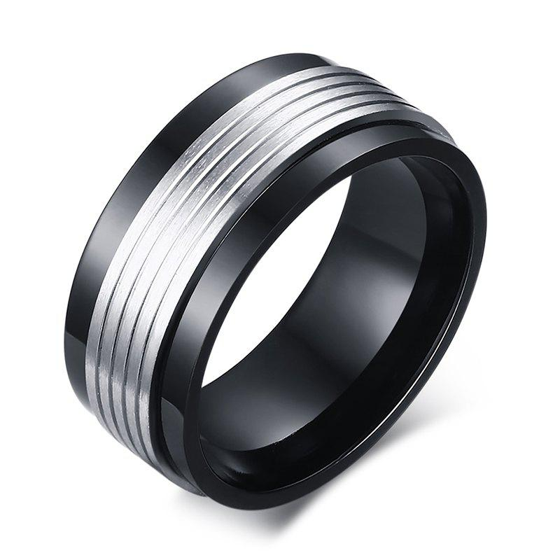 Chic Alloy Rotatable Jewelry Ring For Men - SILVER/BLACK ONE-SIZE