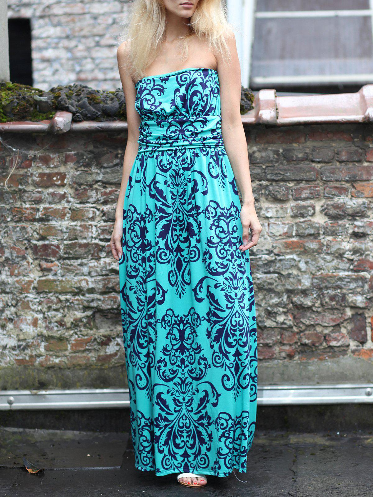 High Waist Printed Ruched Strapless Dress - TIFFANY BLUE S
