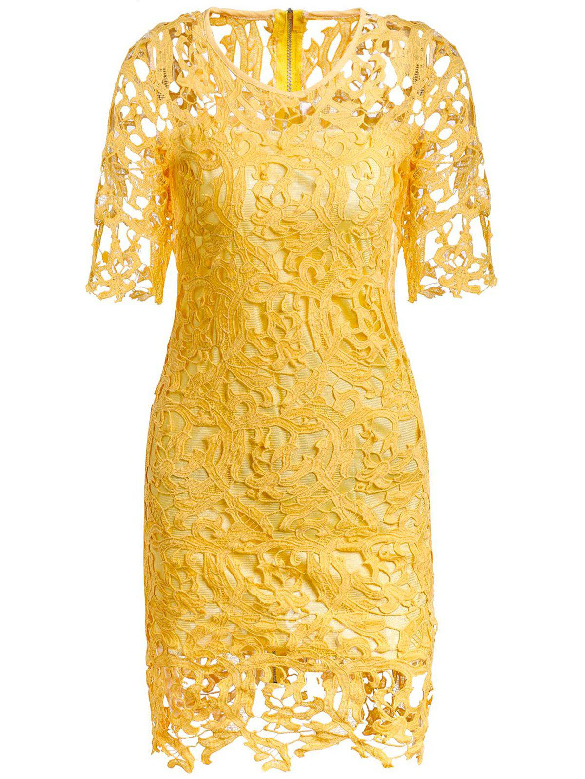 Round Neck 1/2 Sleeve Hollow Out Spliced Lace Women's Dress - YELLOW M