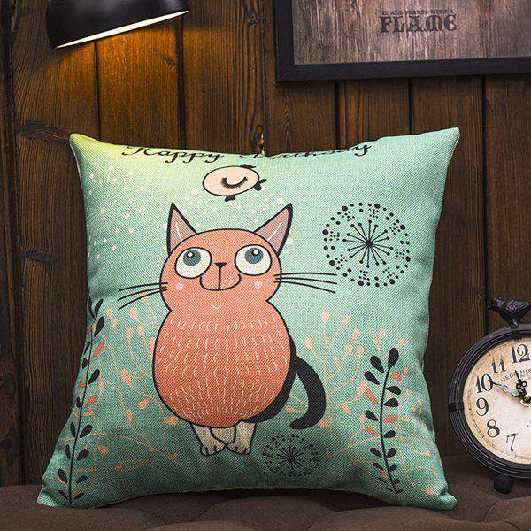 Creative Fat Cat Pattern Cotton and Linen Square Shape Pillowcase(Without Pillow Inner) - GREEN