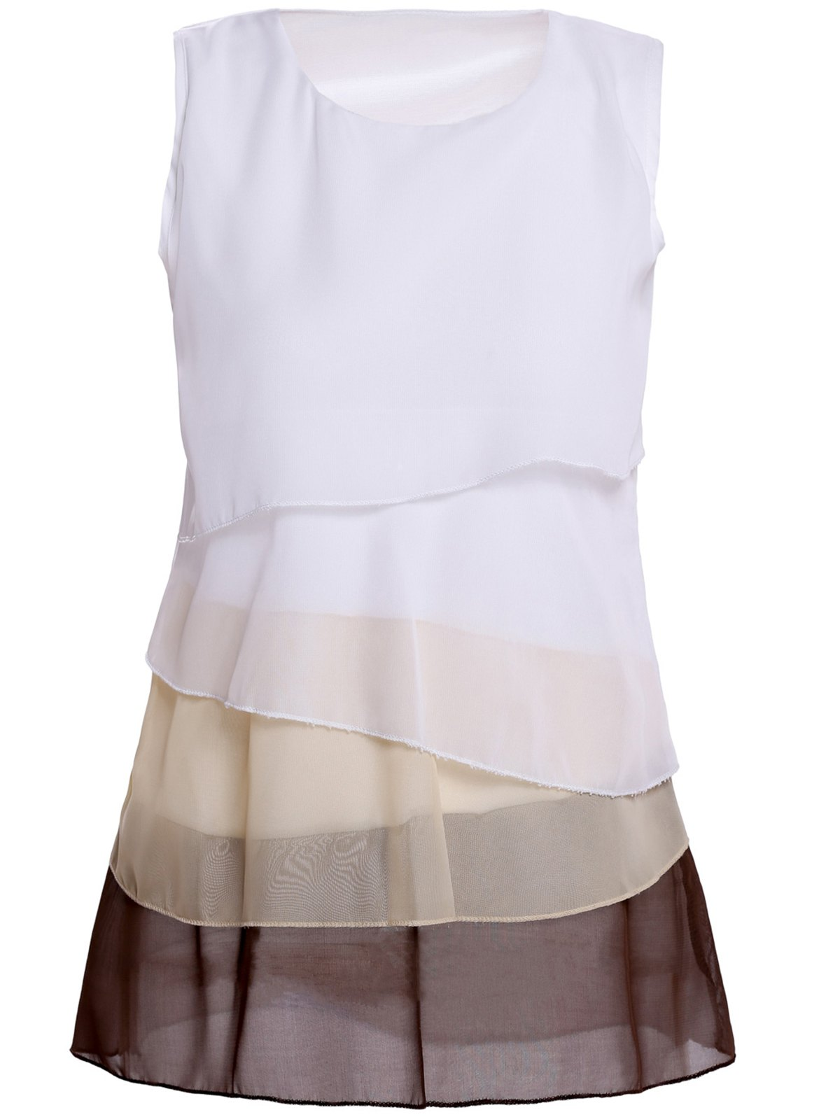Stylish Scoop Neck Sleeveless Color Block Tiered Blouse For Women