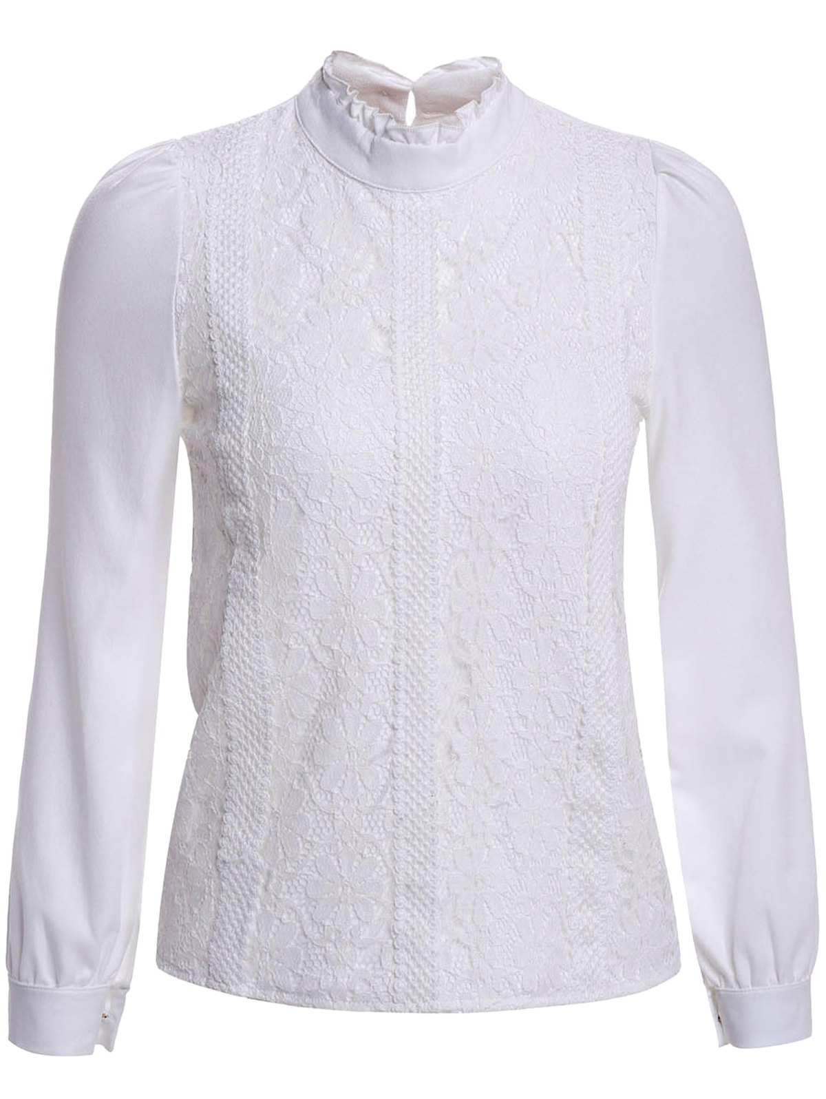 Elegant Stand Collar Long Sleeve Lace Splicing Blouse For Women - WHITE S