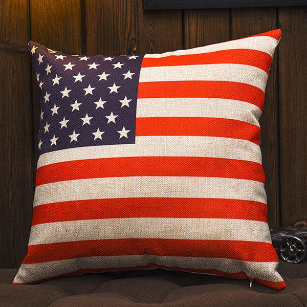 Comfortable American Flag Pattern Cotton and Linen Square Shape Pillowcase (Without Pillow Inner)