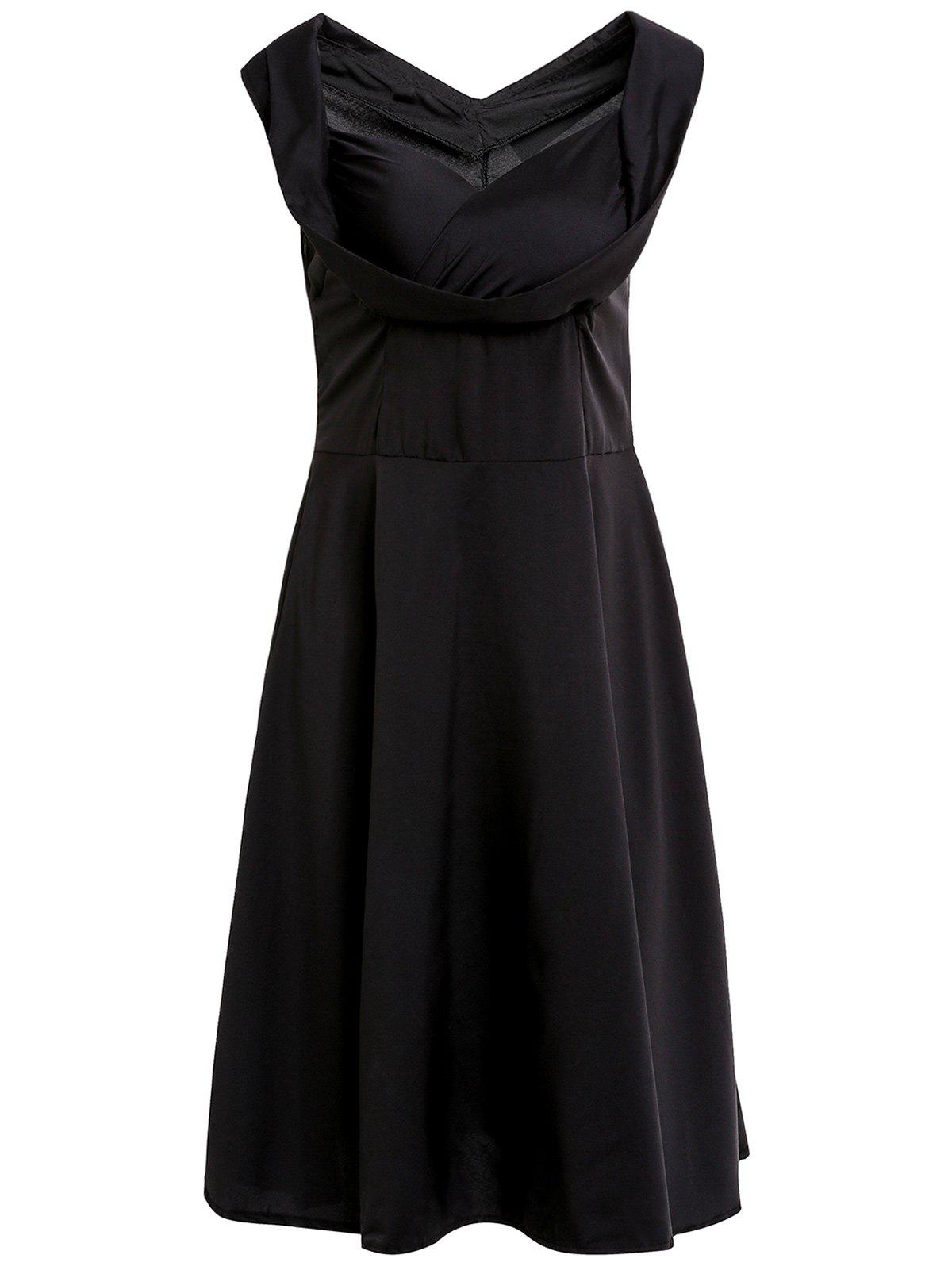 Retro Solid Color Sweetheart Neck Midi Dress For Women - BLACK S
