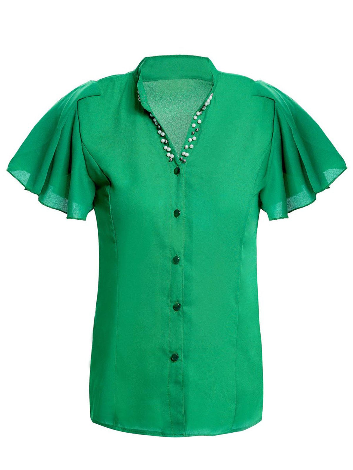 Elegant V-Neck Beaded Short Sleeve Ruffled Chiffon Blouse For Women - GREEN S