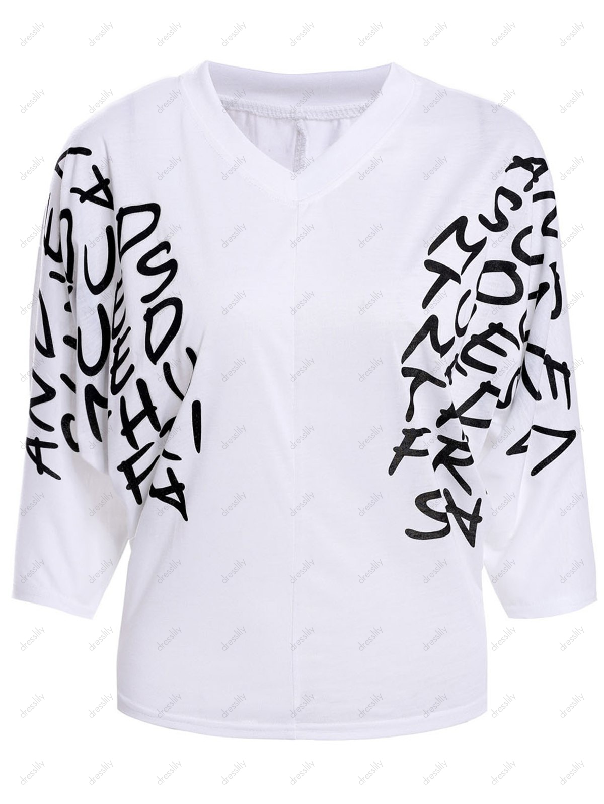 New Dolman Short Sleeve Letter Print Tops Blouses T-Shirts