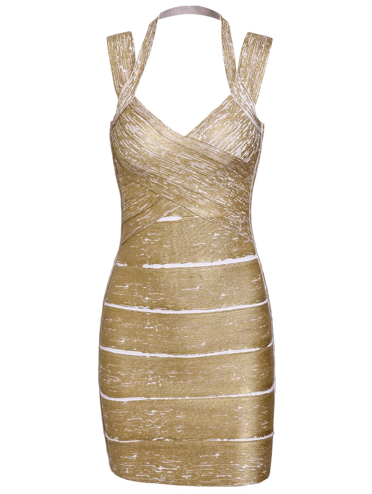 Solid Color Sexy Sweetheart Neck Backless Women's Bandage Dress - GOLDEN S