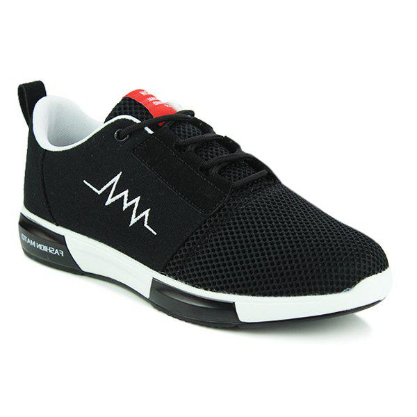Stylish Colour Splicing and Breathable Design Men's Athletic Shoes - BLACK 44