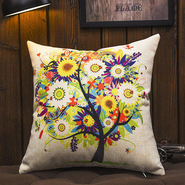 High Quality Colorful Floral Print Square Shape Pillowcase (Without Pillow Inner) - COLORMIX