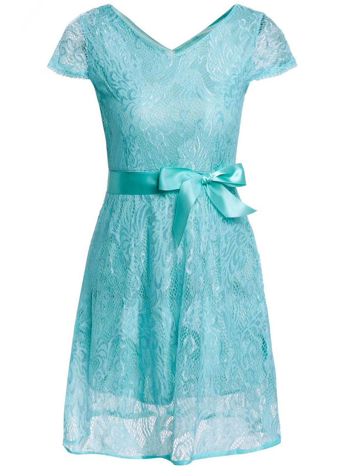 Ladylike V-Neck Short Sleeve Solid Color Lace Women's Dress - BLUE L