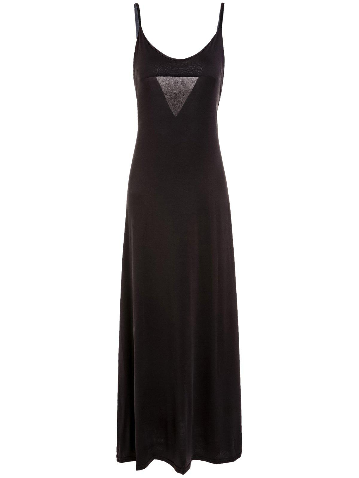 V-Neck Spaghetti Strap Backless Solid Color Maxi Dress - DEEP BROWN XL