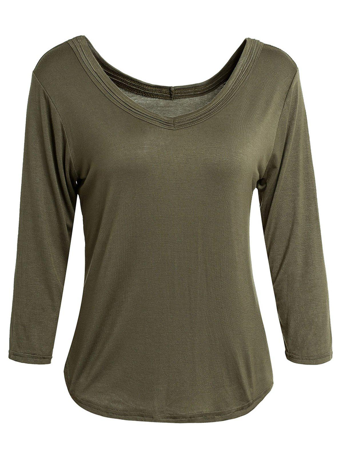 Simple V-Neck Solid Color 3/4 Sleeve Women's T-Shirt - ARMY GREEN M