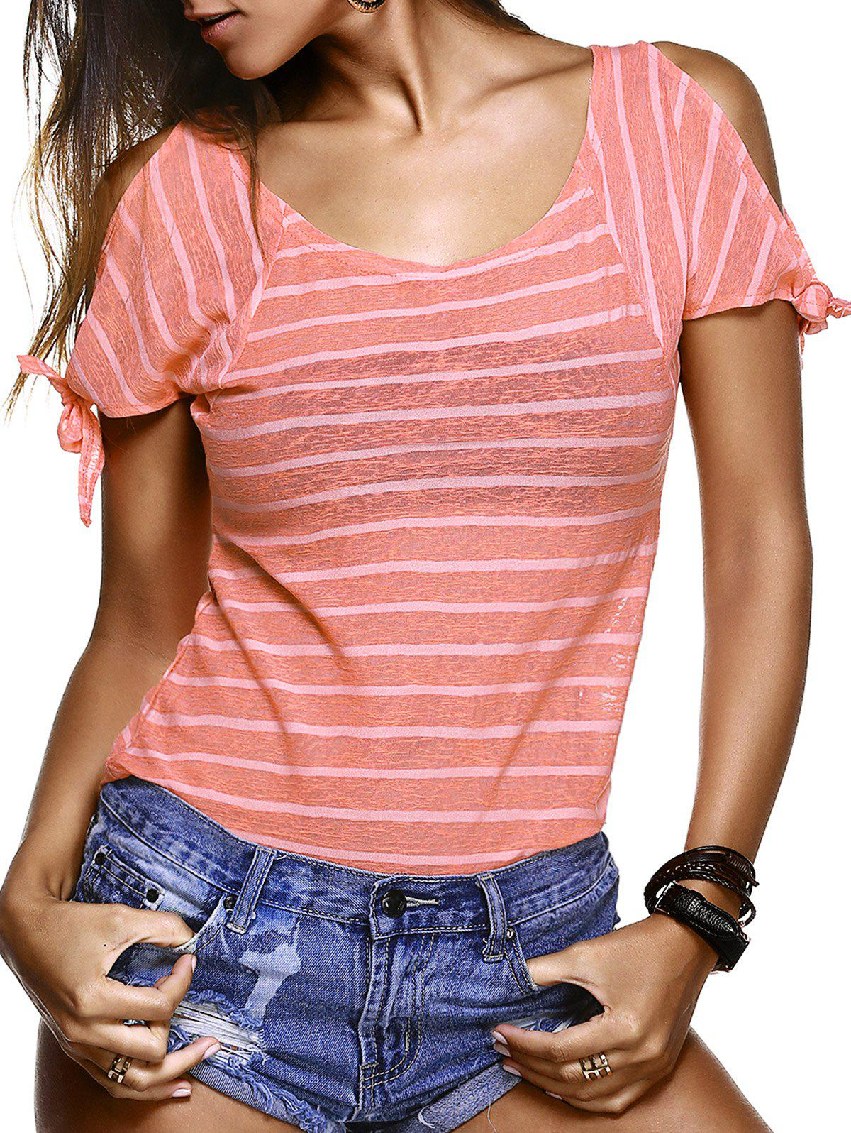 Stylish Women's Scoop Neck Striped Cold Shoulder T-Shirt - JACINTH M