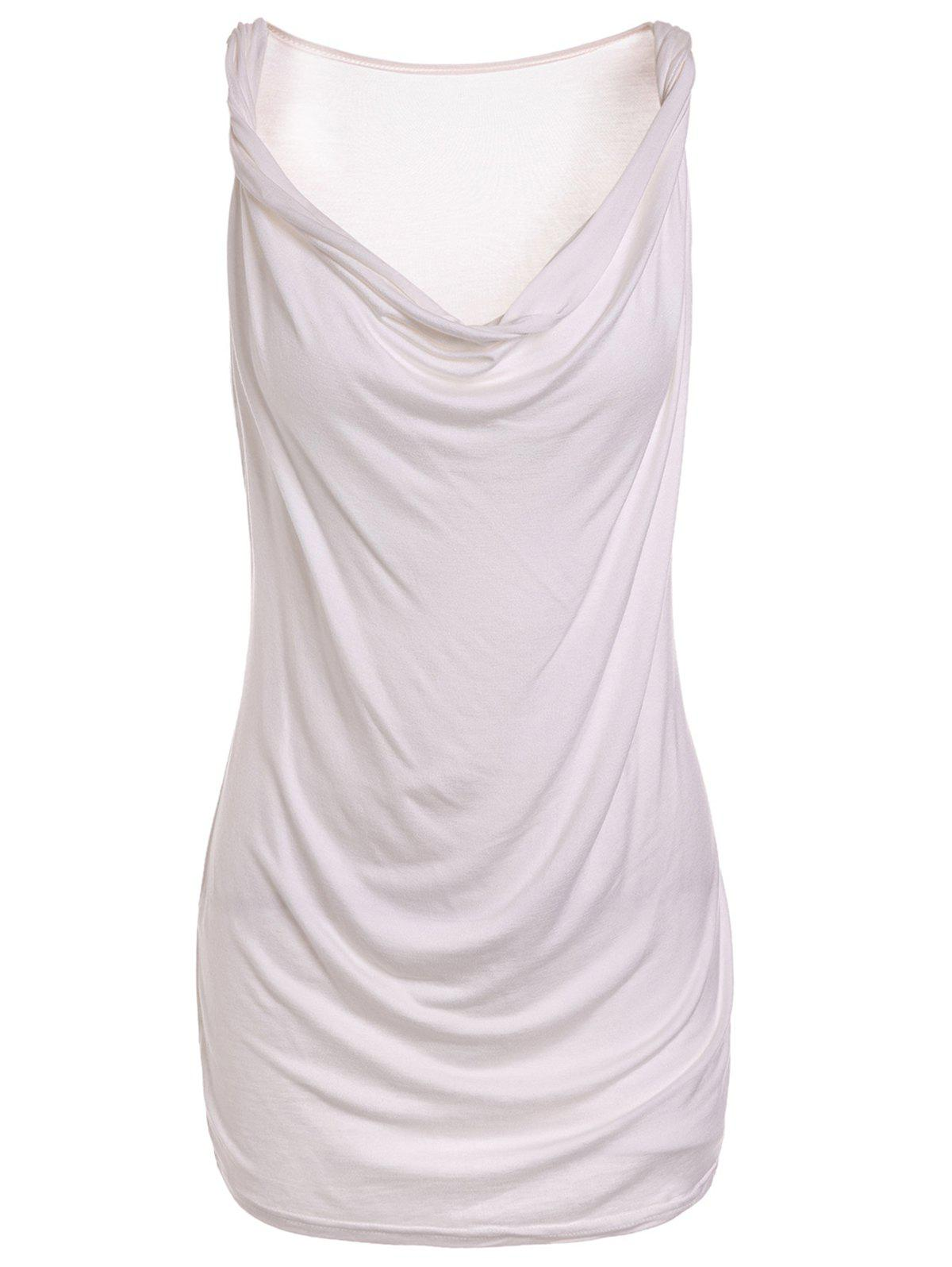 Fashionable Sleeveless Solid Color T-Shirt For Women - WHITE S