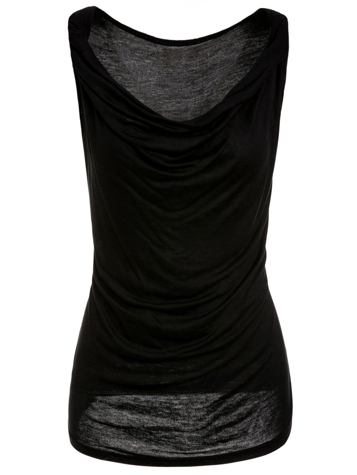 Fashionable Sleeveless Solid Color T-Shirt For Women - BLACK L