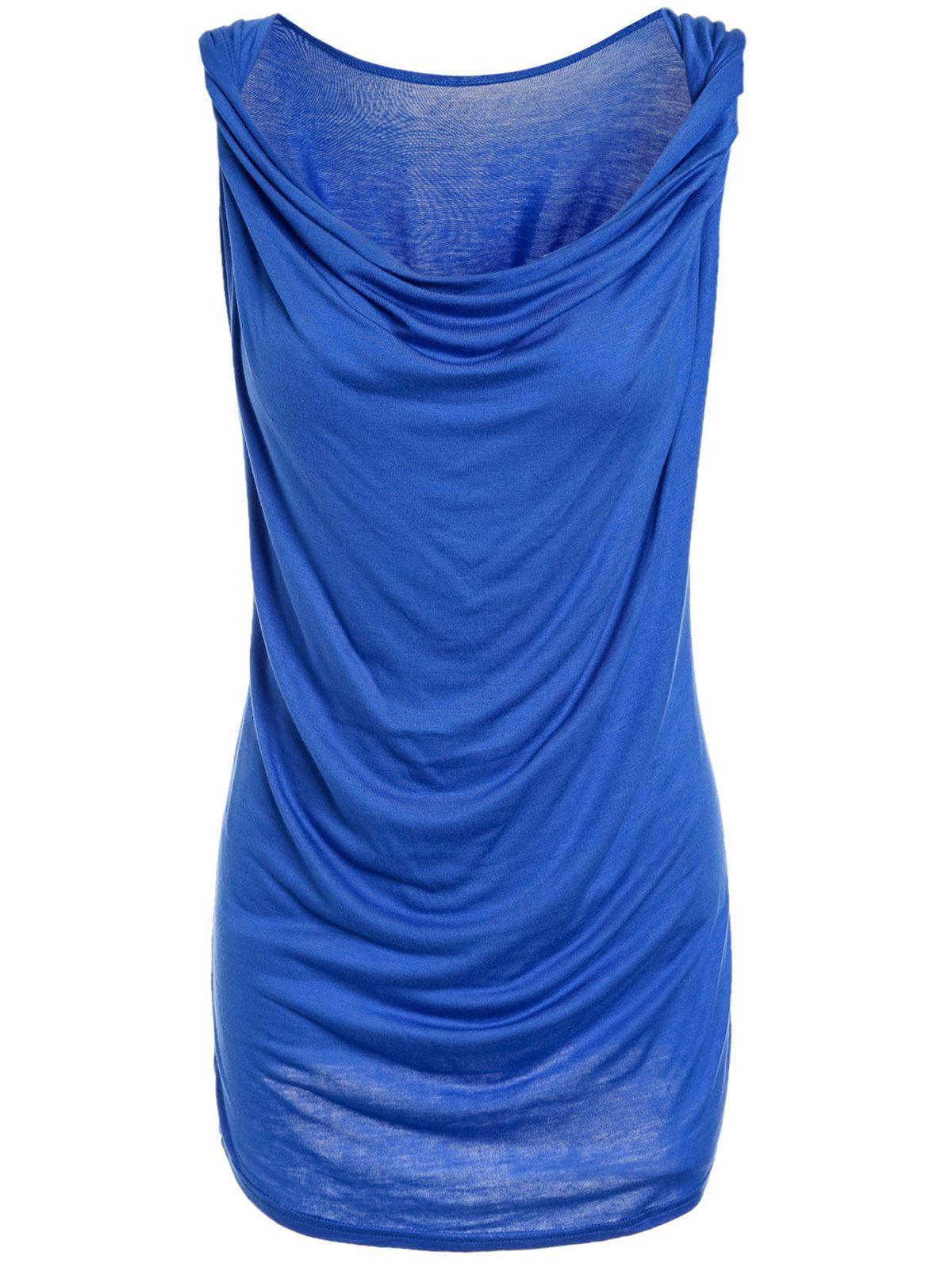 Fashionable Sleeveless Solid Color T-Shirt For Women - BLUE M