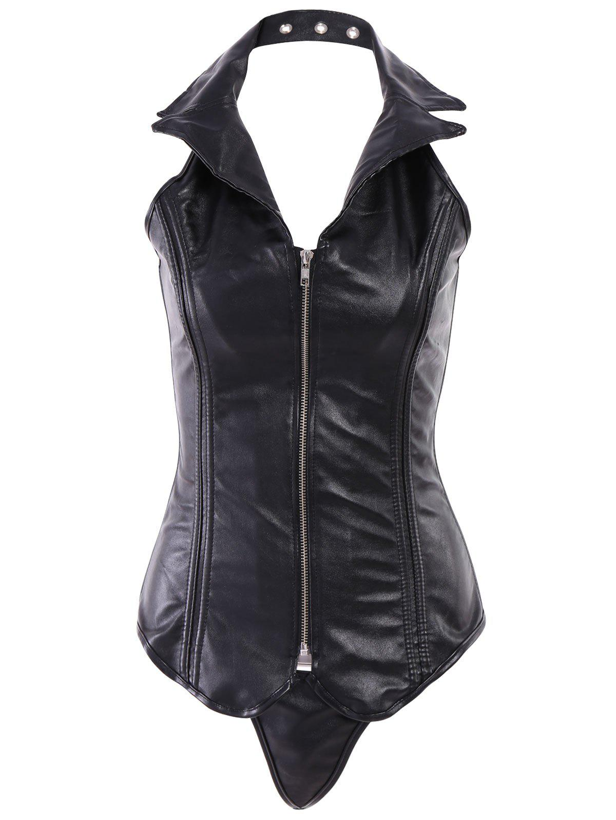 Sexy PU Leather Turn-Down Collar Corset For Women - BLACK 2XL