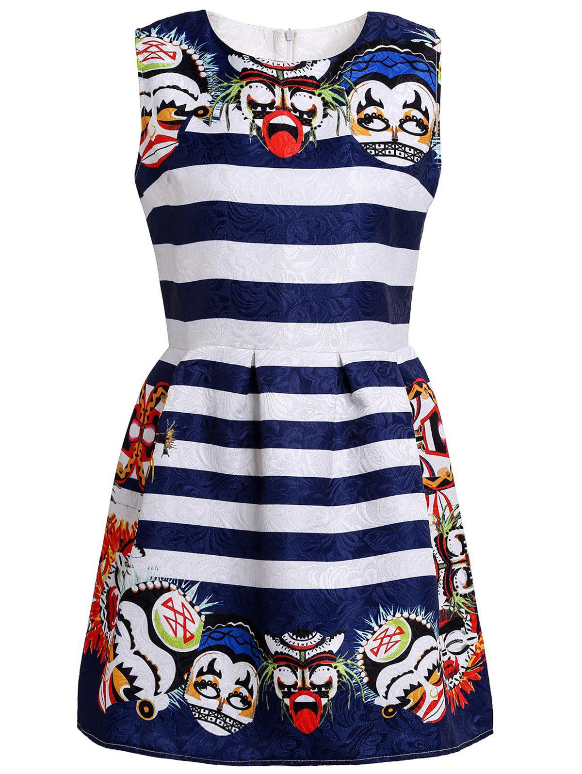 Retro Striped Round Collar Facial Makeup Print Sleeveless Dress For Women - BLUE/WHITE S