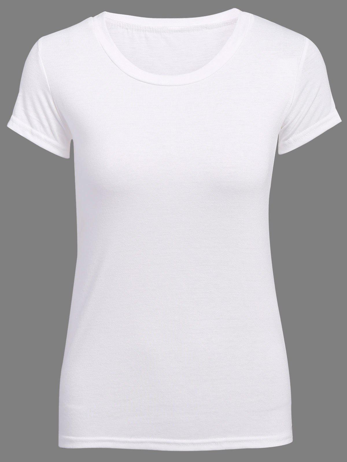 Sweet Candy Solid Color Chic Clipping T-Shirt For Women - WHITE ONE SIZE