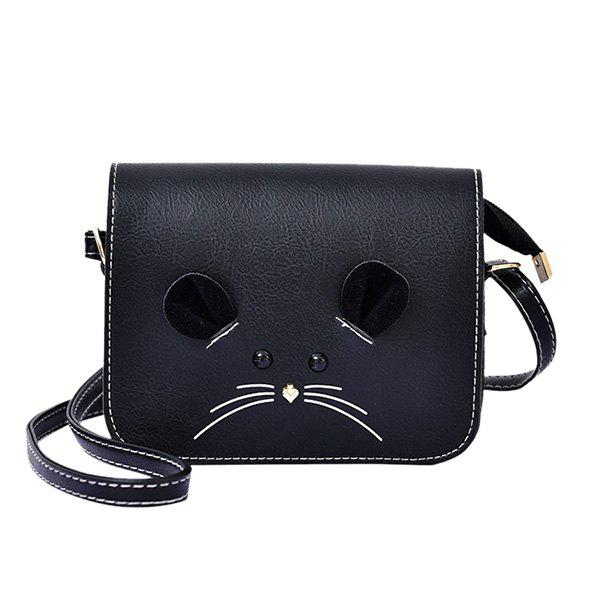 Leisure Metal and Mouse Pattern Design Women's Crossbody Bag - BLACK