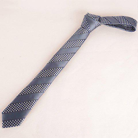 Stylish Small Checkered and Wide Stripe Pattern 6CM Width Men's Tie - BLUE