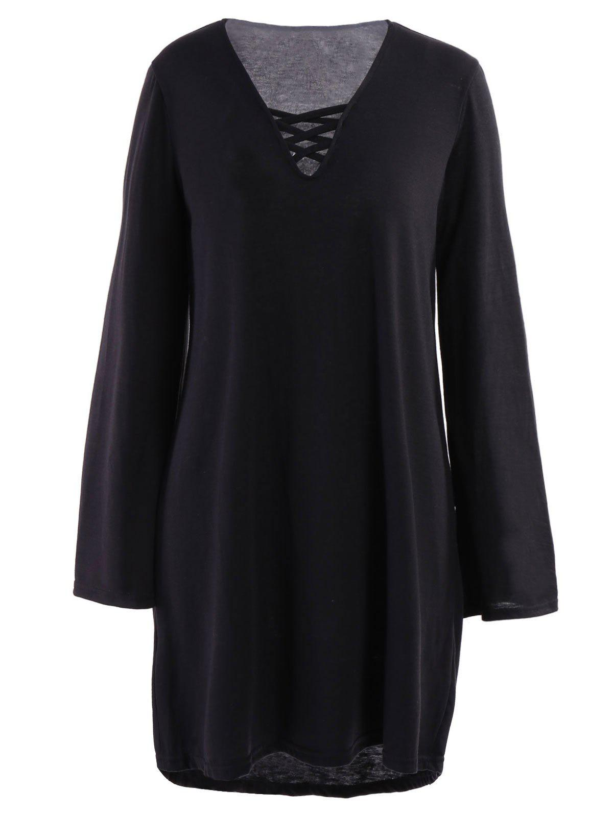 Black dress loose -  Sexy Long Sleeve V Neck Black Loose Fitting Lace Up Women S Dress
