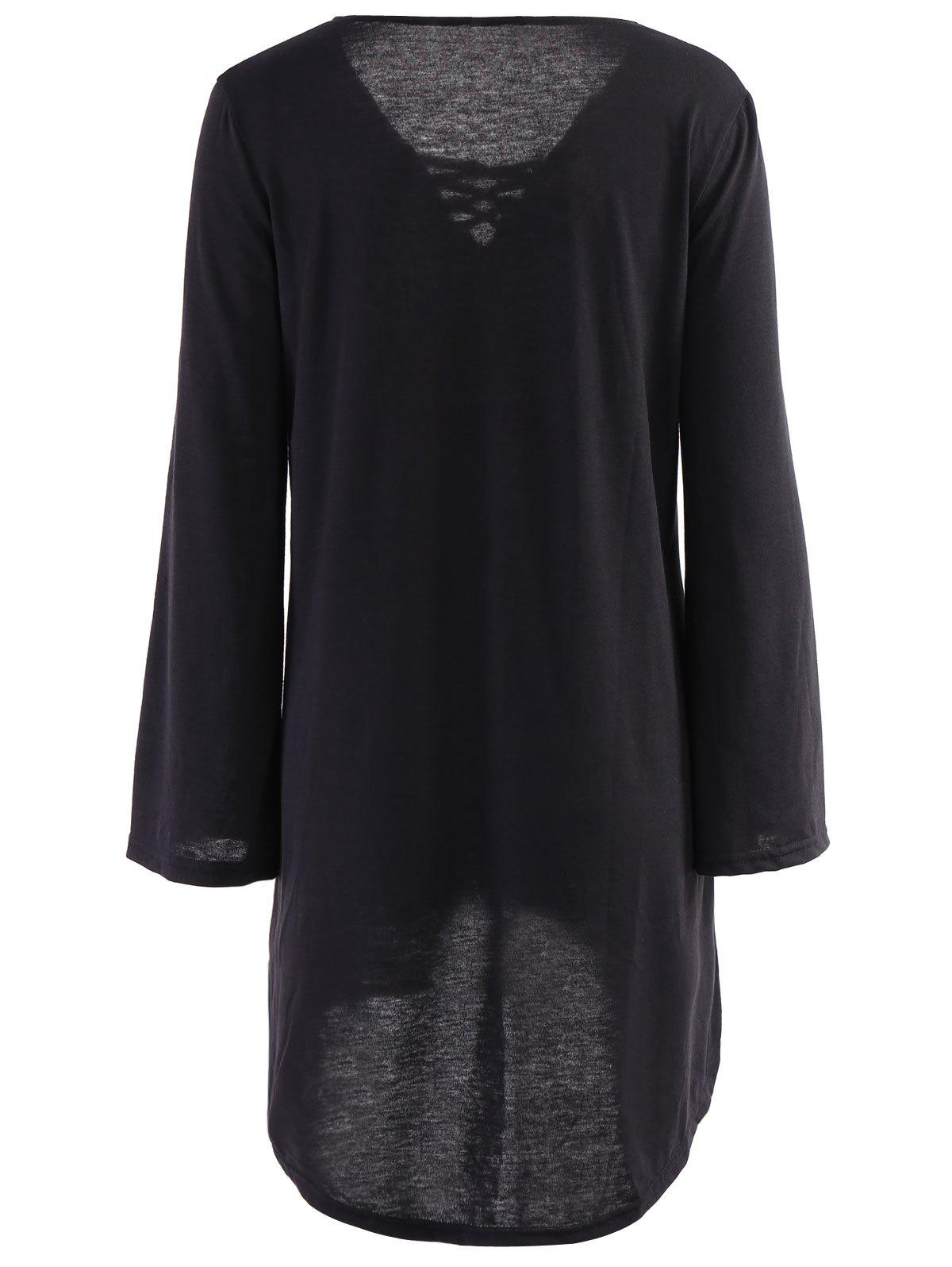 Sexy Long Sleeve V-Neck Black Loose-Fitting Lace-Up Women's Dress - BLACK XL